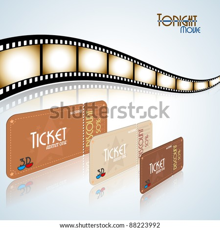 Movie background. Film strip and tickets. Vector illustration.