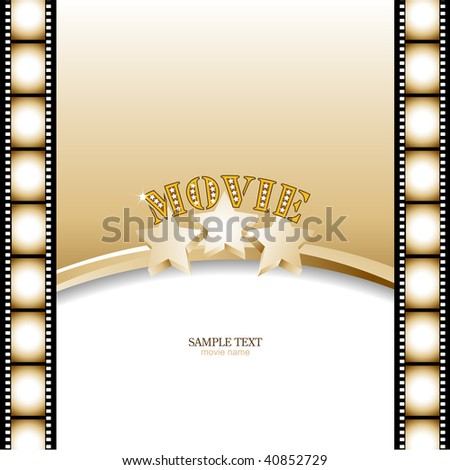 Movie background, poster with film strip.Vector illustration. - stock vector
