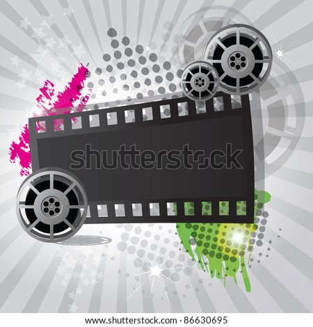 Movie background with film reel and film strip, vector - stock vector