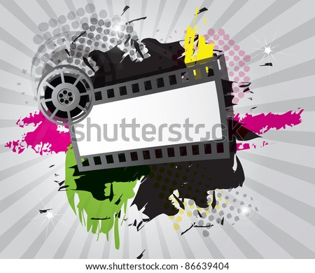 Movie background with film strip, vector - stock vector