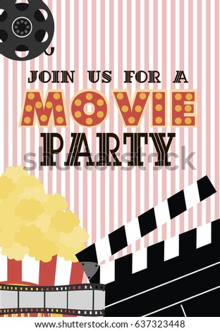 movie birthday party invitation card design template vector illustration - Movie Birthday Party Invitations