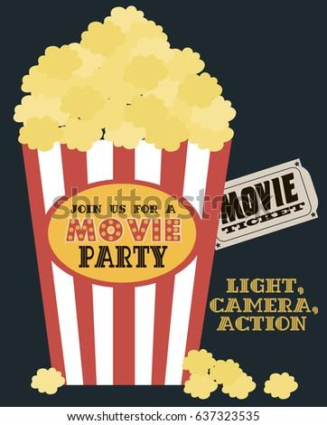 Movie birthday party invitation card design stock photo photo movie birthday party invitation card design template vector illustration stopboris Gallery