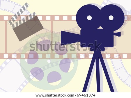 Movie Camera, clapboard and films collage. Vector EPS illustration. - stock vector