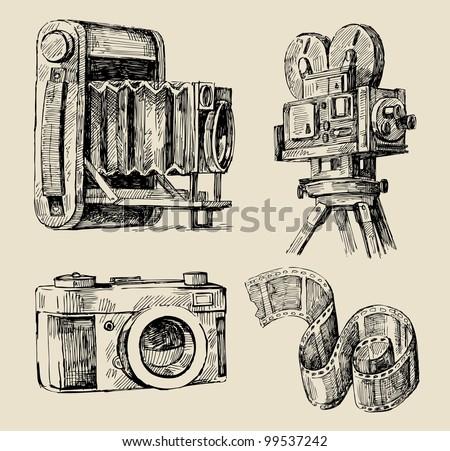 movie camera hand drawn - stock vector