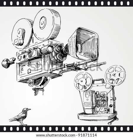 movie camera - hand drawn set