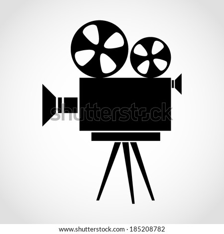 Movie Camera Icon Isolated on White Background - stock vector