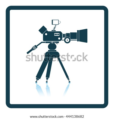 Movie camera icon. Shadow reflection design. Vector illustration. - stock vector