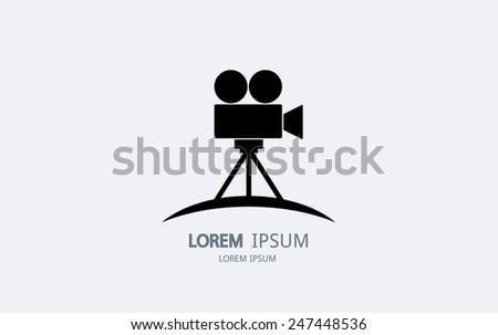 Movie camera logo. Vector logotype design. - stock vector