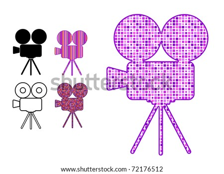 movie camera silhouette icon in patterns isolated on white background - stock vector
