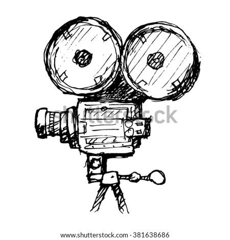 Movie Camera Vector sketch - stock vector