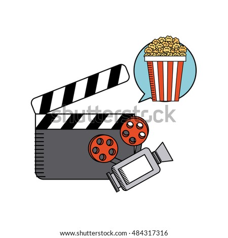 movie cinema flat line icon vector illustration design