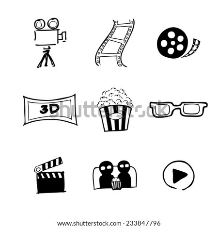 Movie cinema icons Chinese brush drawing - stock vector