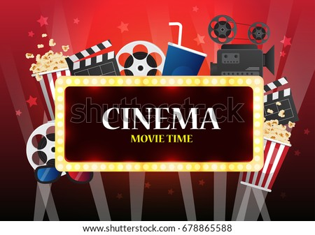 Movie Cinema Poster Design Vector Template Stock 678865588