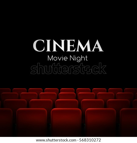 Movie Cinema Premiere Poster Design With Red Seats Vector Background