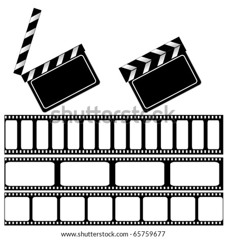 Movie clapper board and filmstrip vector illustration for your design. isolated on white - stock vector