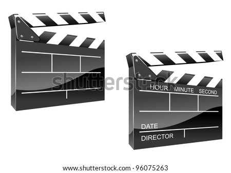Movie clapper board in glossy icon style isolated on white background. Jpeg version also available in gallery. - stock vector