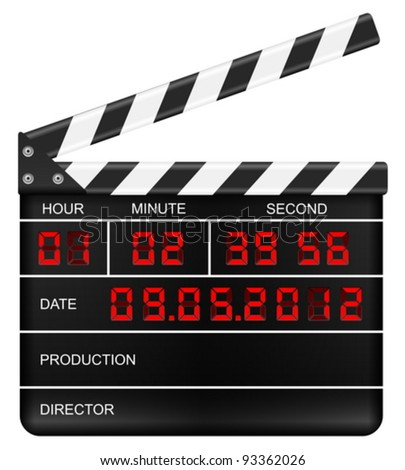 Movie clapper board on a white background. Vector illustration. - stock vector