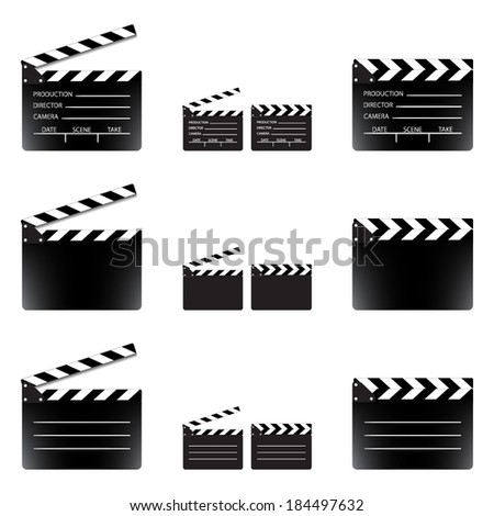 Movie clapper board set, isolated on white background, vector illustration. - stock vector