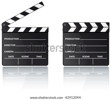 Movie clapper board set with reflection on white background