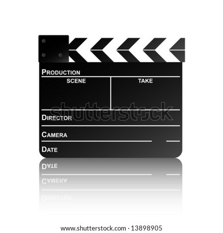 Movie clapper board with reflection. Vector illustration