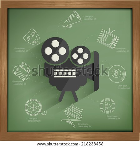 Movie concept design on blackboard background,clean vector - stock vector
