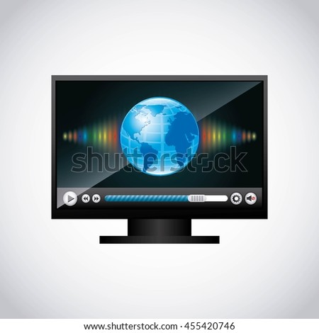 Movie concept represented by planet play and computer icon. Colorfull and flat illustration.