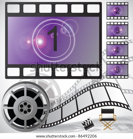 Movie countdown and reel, vector - stock vector