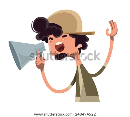 Movie director yelling cut vector illustration cartoon character - stock vector