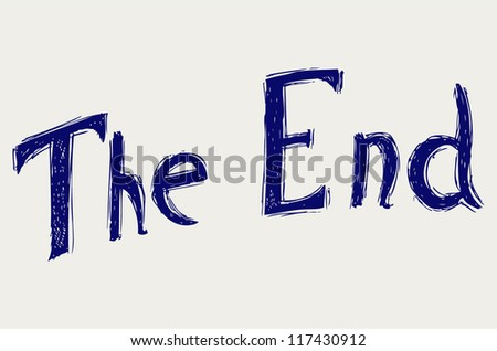 Movie ending screen. Doodle style - stock vector