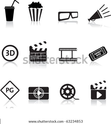 movie, film and cinema, typical black silhouette icon buttons - stock vector