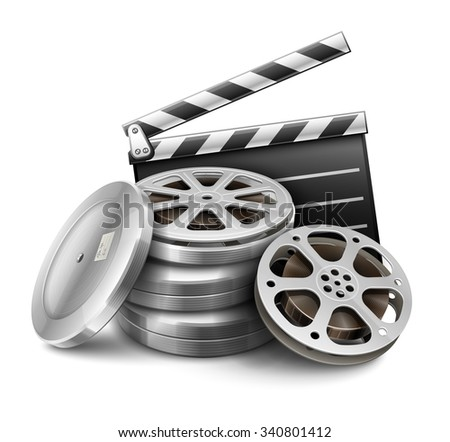 Movie film disk with tape and directors clapper for cinematography filmmaking. vector illustration. Isolated on white background. Transparent objects used for lights and shadows drawing. - stock vector
