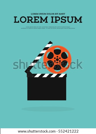 Movie film reel and filmstrip vintage poster background vector illustration