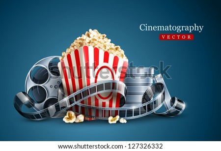 movie film reel and popcorn cinematography concept. EPS10 Vector Illustration. - stock vector