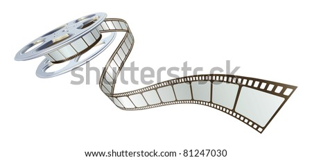 Movie film spooling out of film reel. Symbol for cinema. - stock vector