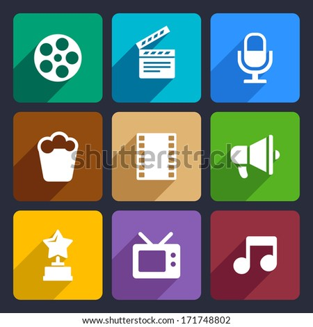 Movie Flat Icons Set 37 - stock vector
