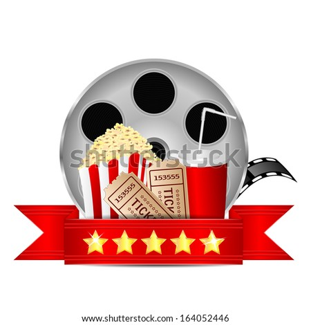 movie icon.items for cinema isolated on white background.reel of film with popcorn and a drink on a white background.vector - stock vector