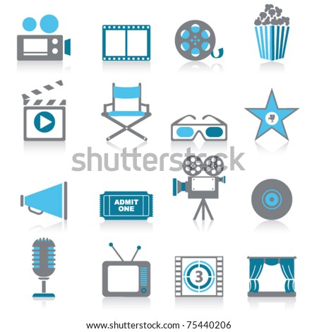 Movie icons - stock vector