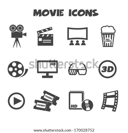 movie icons, mono vector symbols - stock vector