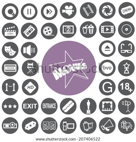 Movie icons set and Cinema icons set - stock vector