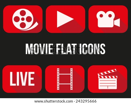 Movie icons set. Button for internet player or app. Vector Illustration. - stock vector