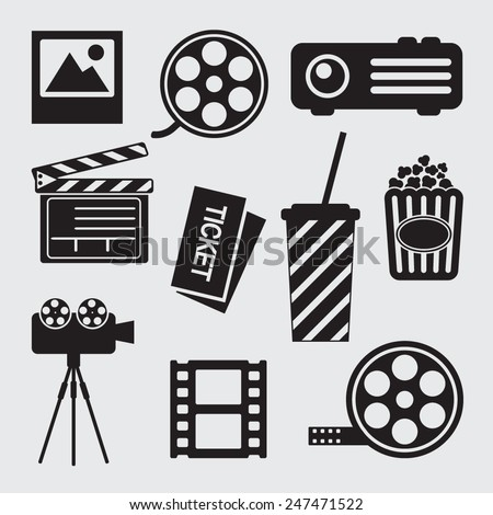 Movie icons set. Cinema symbols. Film icons. - stock vector