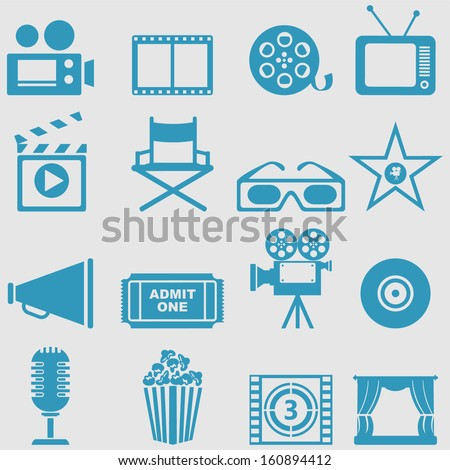 Movie icons set.Vector  - stock vector