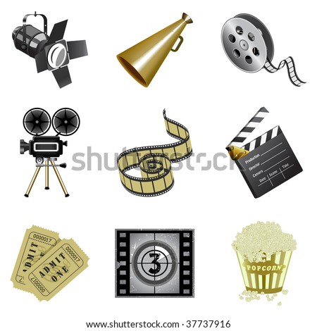 Movie industry icons - stock vector