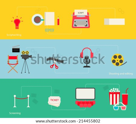 Movie making icons set in flat design style, vector illustration. Includes cinema idea, scriptwriting, shooting, editing, and screening icons - stock vector