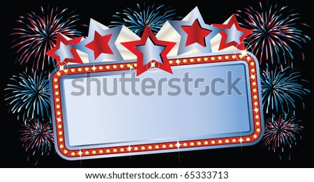 Movie Marquee with Fireworks - stock vector
