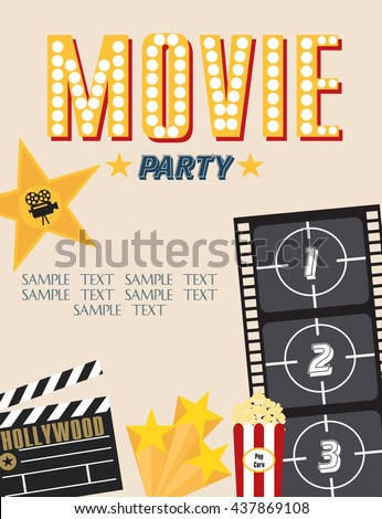 Movie party hollywood party invitation card stock vector 437869108 movie party hollywood party invitation card stopboris Image collections