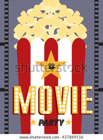 Movie party. Hollywood party invitation card