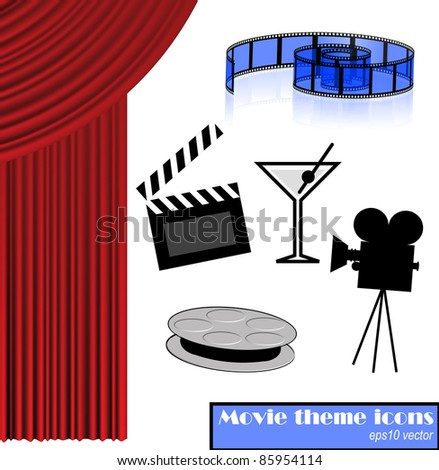 Movie party theme pack, eps10 vector - stock vector