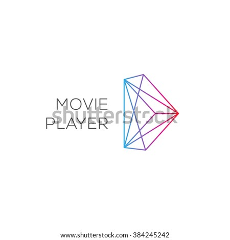 Movie player, abstract colored play logotype, vector illustration.  - stock vector