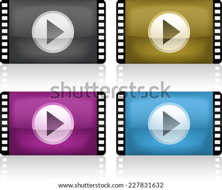 Movie Player Program Icon Set, vector illustration cartoon with 4 different colored types. - stock vector